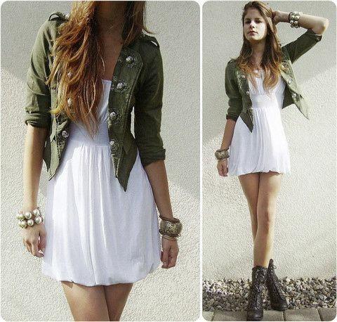 白ワンピ×ジャケットで清楚なお嬢様風デートファッション